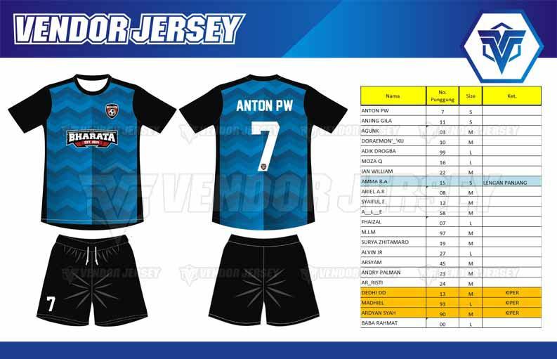 Tempat Bikin Jersey Futsal Printing di Bekasi desain depan belakang