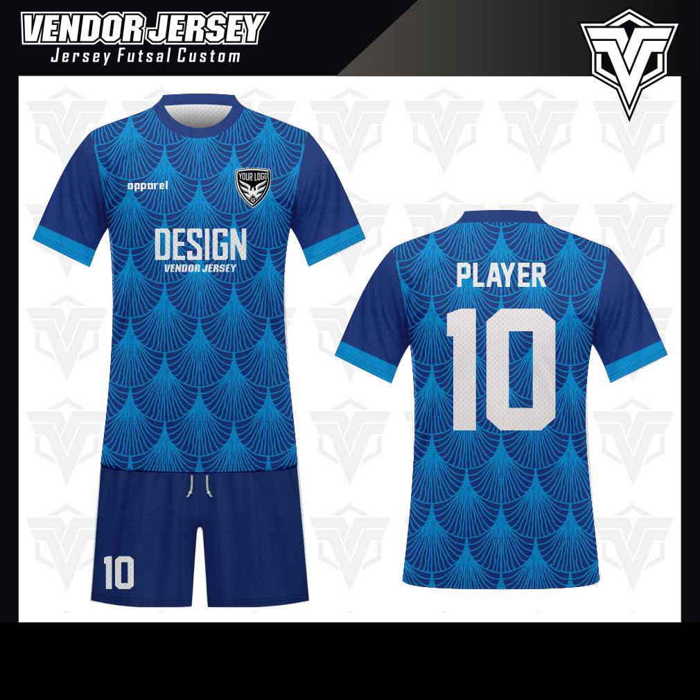 desain baju futsal bekasi biru bagus