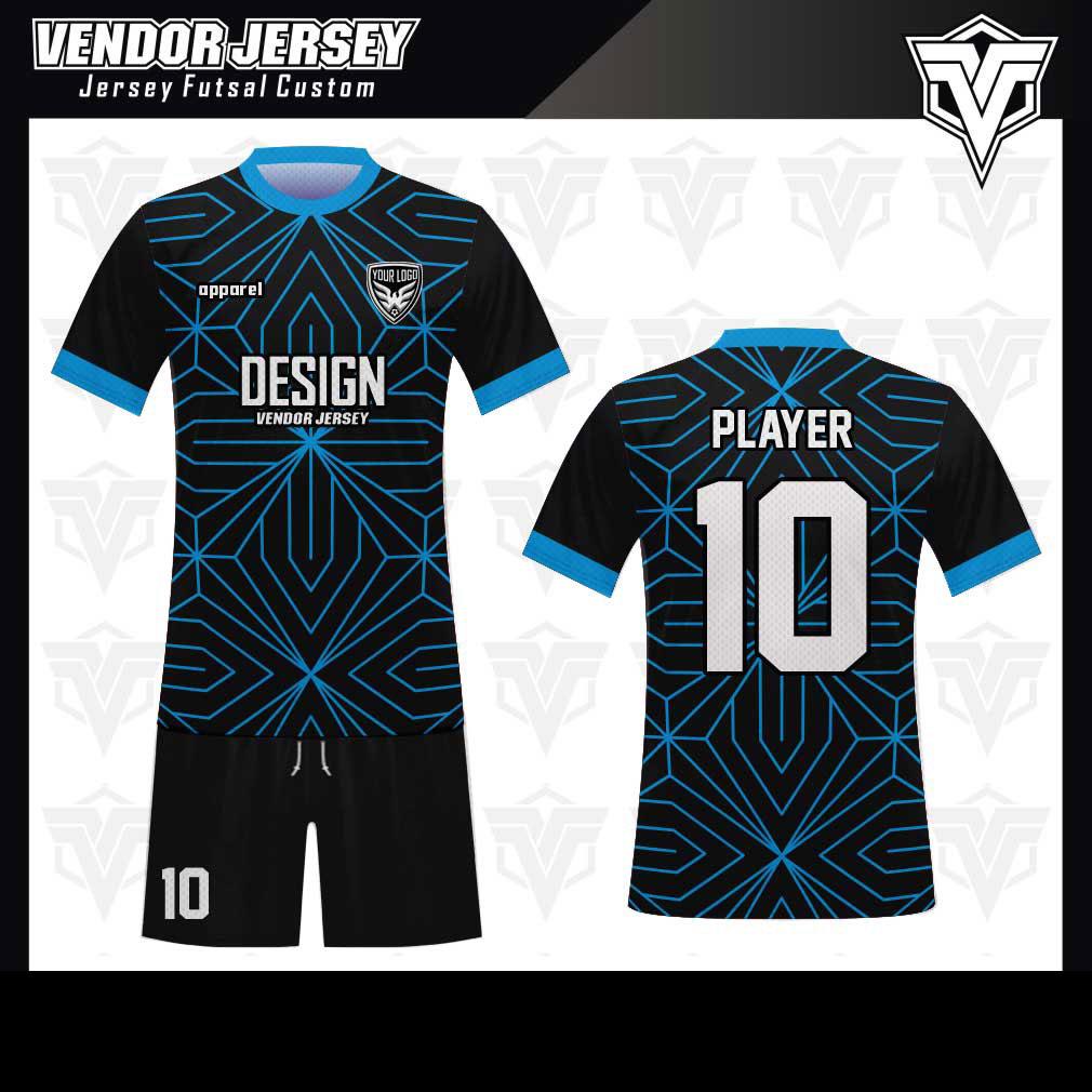 desain baju futsal bekasi biru hitam