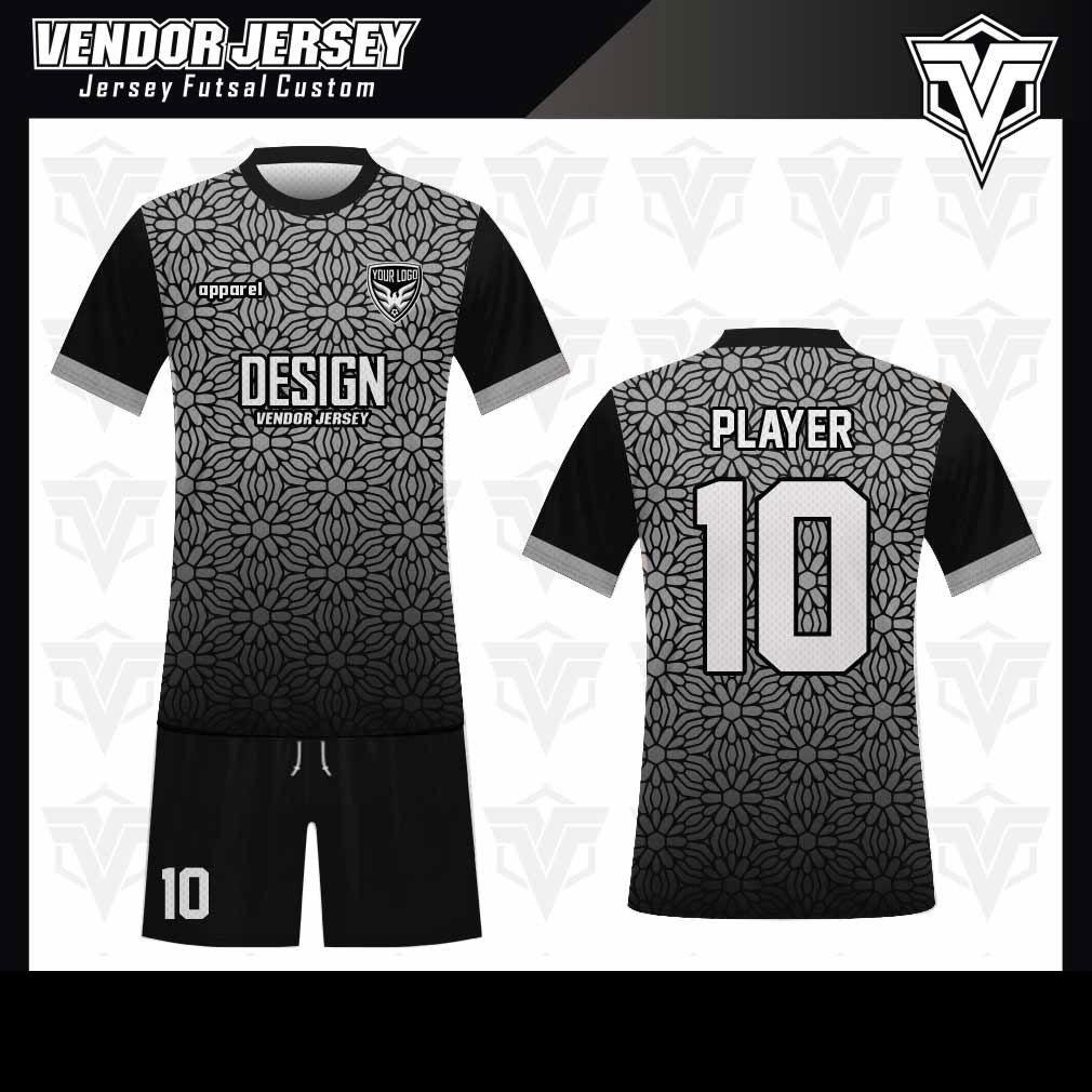 desain baju futsal bekasi hitam motif abu