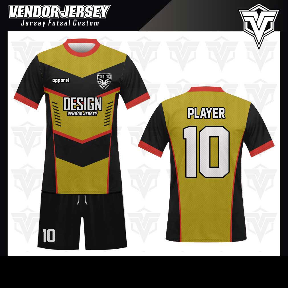 desain baju futsal bekasi kuning emas