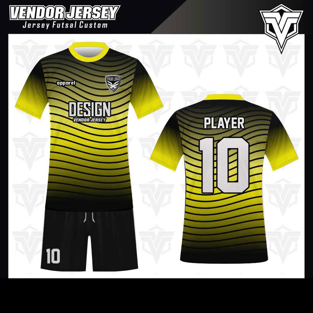 desain baju futsal bekasi kuning hitam