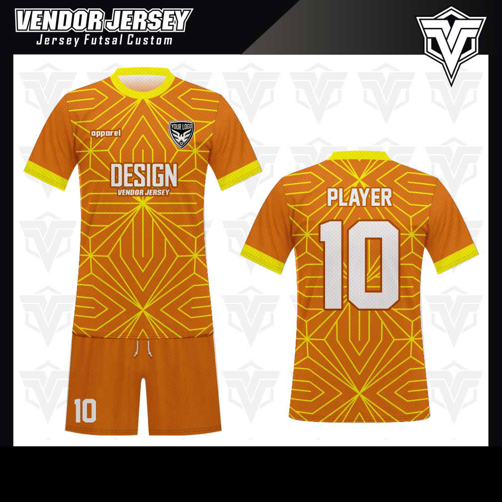 desain baju futsal bekasi kuning orange