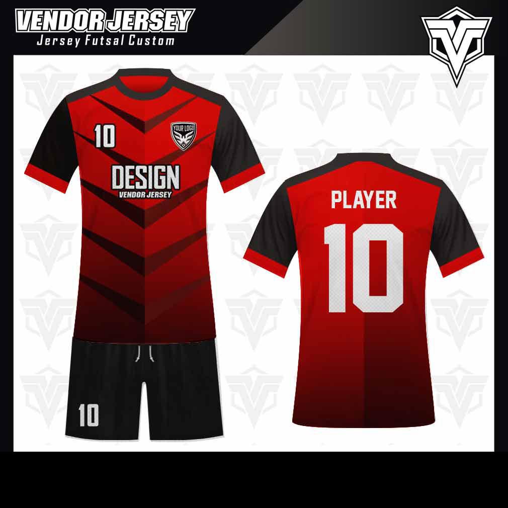 desain baju futsal bekasi merah gradasi