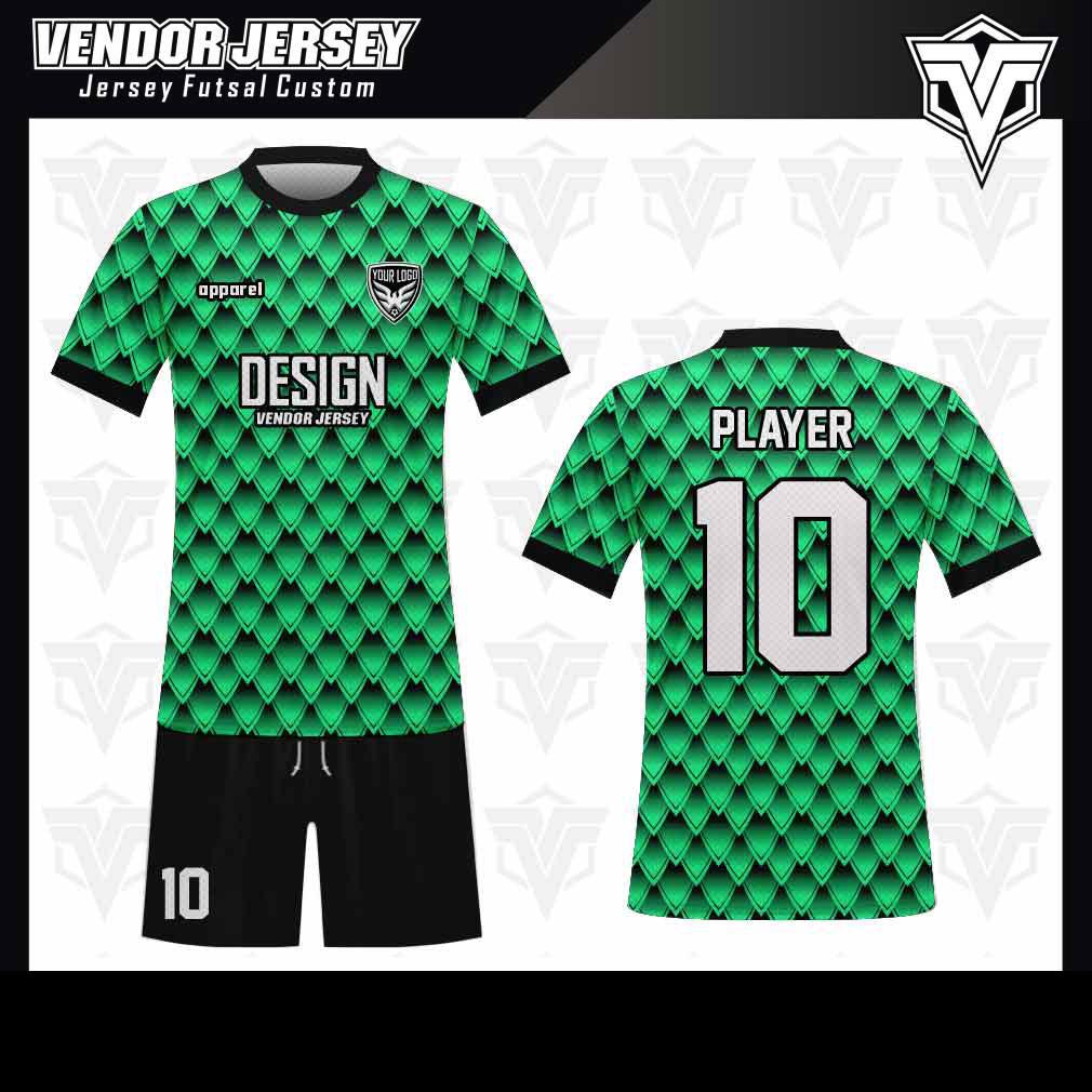 desain baju futsal bekasi unik hijau