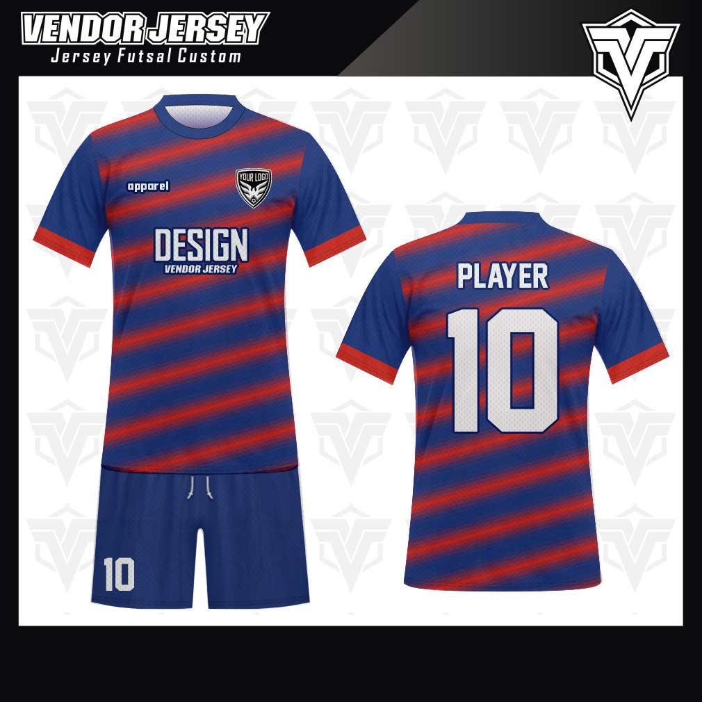 desain jersey futsal bekasi biru merah terbaik