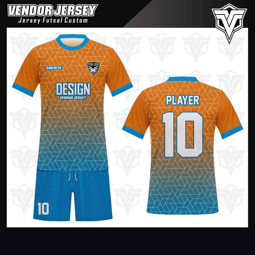 desain jersey futsal bekasi gradasi biru orange