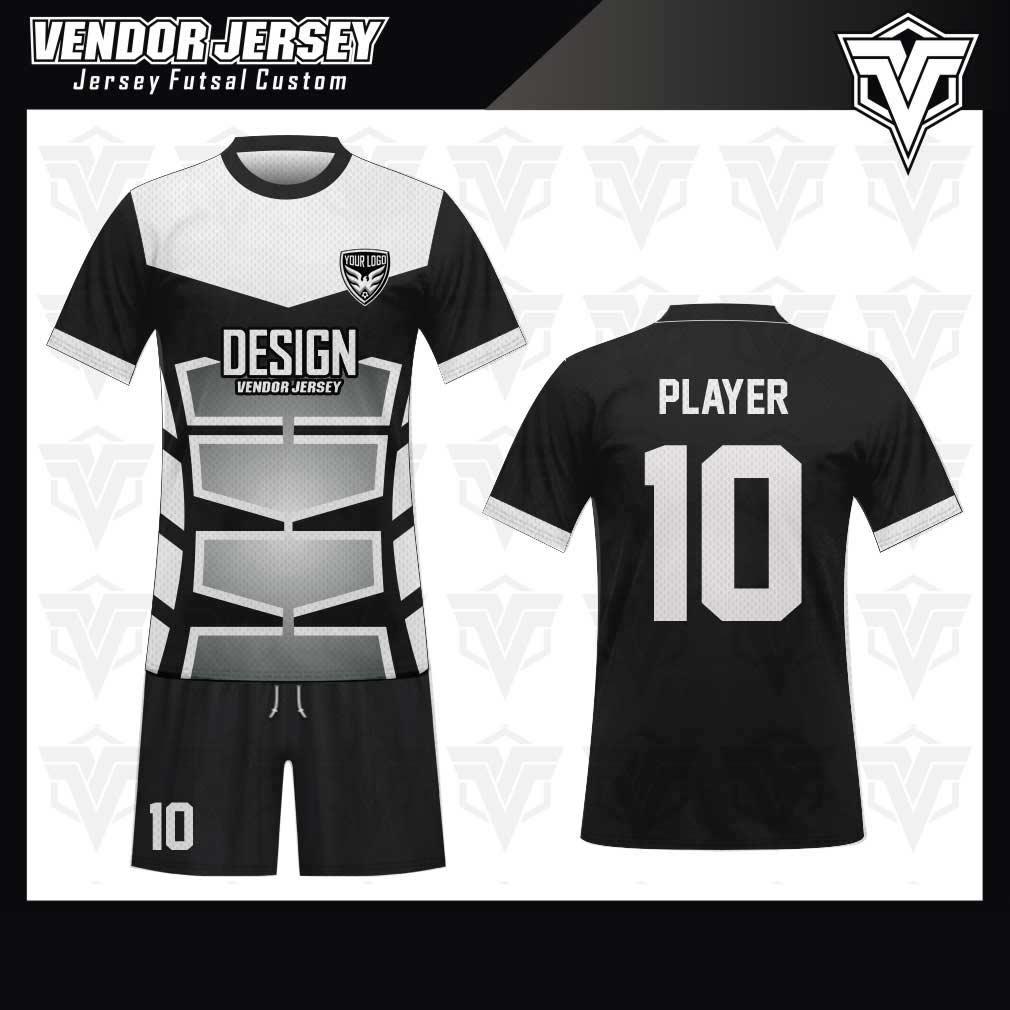 desain jersey futsal bekasi gradasi hitam putih