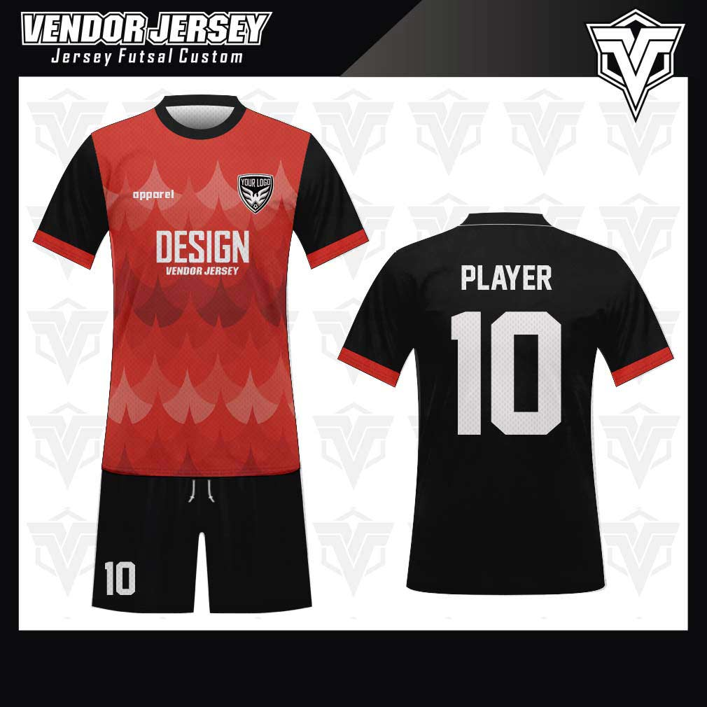 desain jersey futsal bekasi merah hitam motif keren