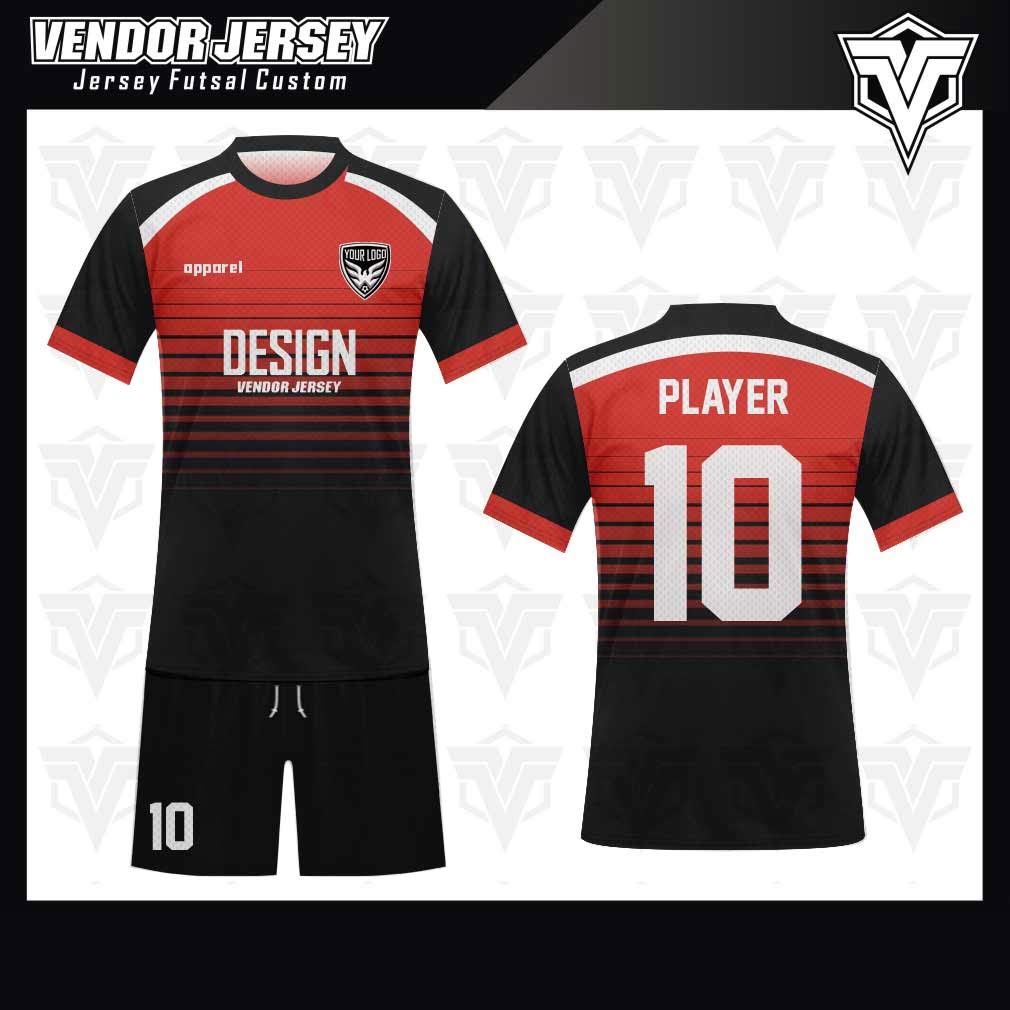 desain jersey futsal bekasi merah hitam