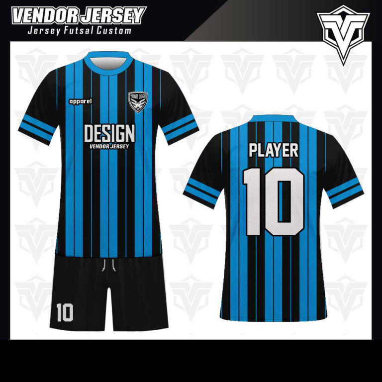 desain baju futsal bekasi biru garis hitam
