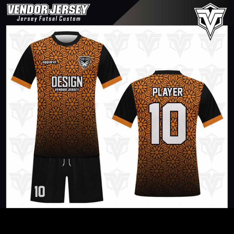 desain baju futsal bekasi hitam kombinasi orange