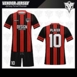 desain baju futsal bekasi merah garis hitam