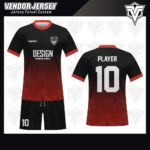 desain jersey futsal bekasi merah gradasi hitam