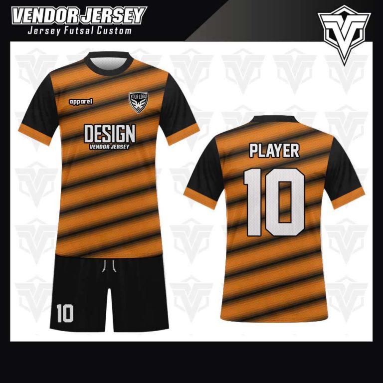 desain jersey futsal bekasi orange hitam'
